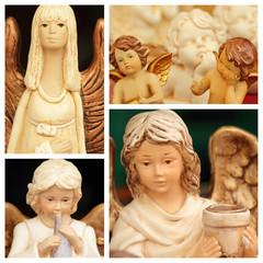 christmas angelic figurines collage