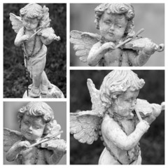 angel playing violin  collage - cemetery figurine