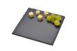 canvas print picture - Schieferplatte auf weiss mit Käsesorten dekoriert