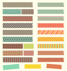 Set of cute patterned washi tape strips in retro colors