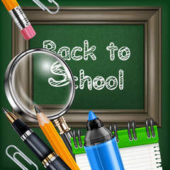 School blackboard and stationery
