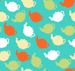 Seamless pattern with teapots, vector illustration
