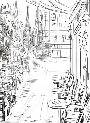 Fototapeta Street in paris - illustration