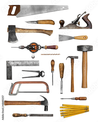 Old carpenter hand tools - 68683257