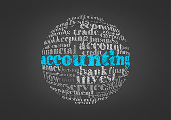 accounting word cloud concept in globe