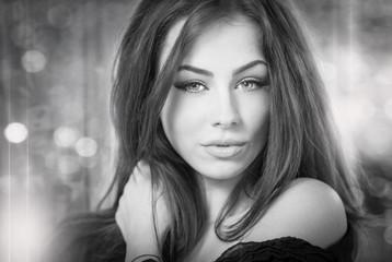 Beautiful female portrait with long hair, studio shot
