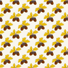 Autumn seamless pattern with acorns. Vector background.