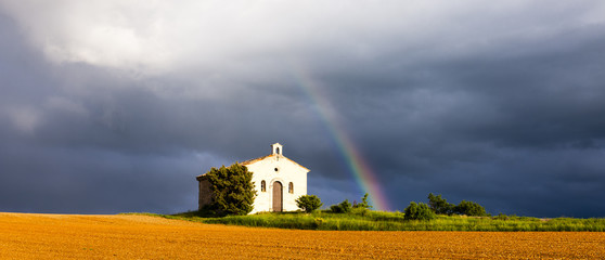 chapel with rainbow, Plateau de Valensole, Provence, France