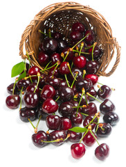 Fresh cherry berries with leaves