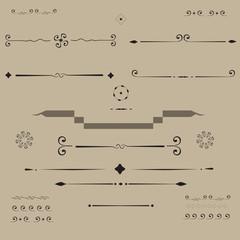 set of curl  vignette ornamental elements