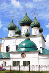 Old white orthodox church in Yaroslavl, Russia.