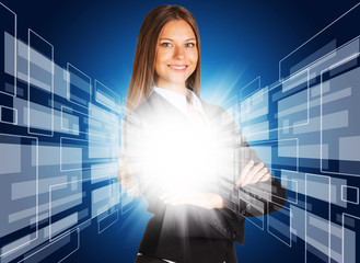 Businesswoman with glowing abstract background