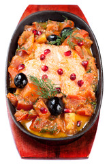 Salmon baked with vegetables