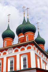 Old red orthodox church in Yaroslavl, Russia.