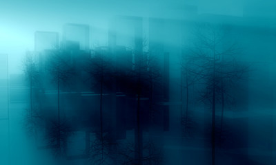 early morning city street in mist