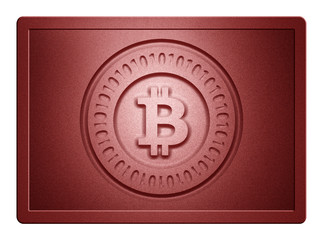 Red Metallic Bitcoin Plate