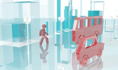 abstract  mirror glass city street traffic