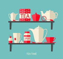 Teatime flat design elements with a tea pot, mug, jam, cake, swe