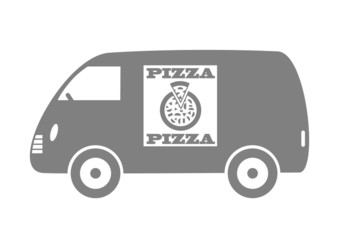 Grey delivery van on white background