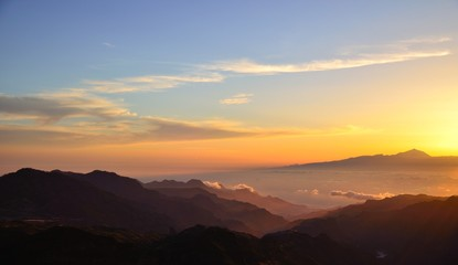 Sunset on the mountains, west of Gran canaria