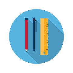 Ruler pen and pencil icon