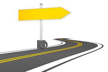 3D - Straße und leeres Straßenschild