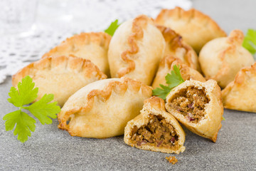 Cornish Pasty - Baked pasty filled with meat and potatoes.