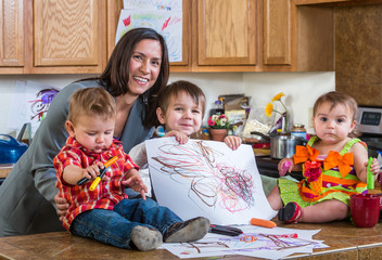 Mother Poses With Children