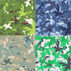Set of camouflage military background. Seamless pattern