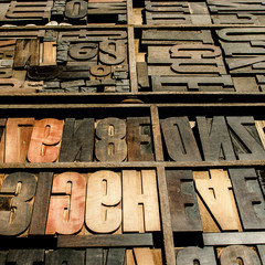 old wood types, square background