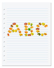 Notebook paper with letters A B C composed of autumn maple leafs