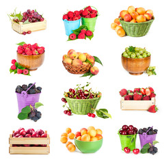 Set of berries and fruits in packagings