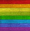 canvas print picture - Holz mit Regenbogenfarben
