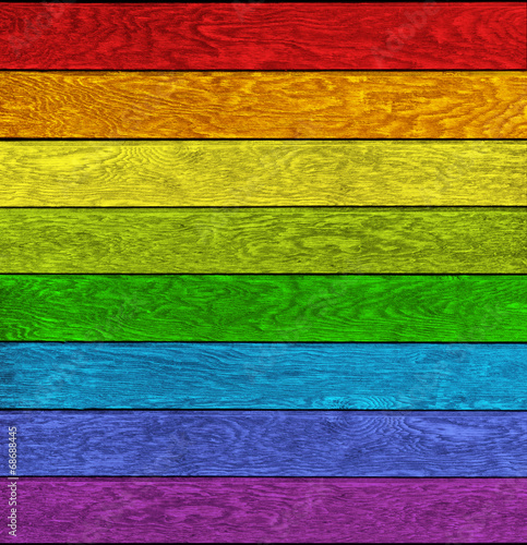 canvas print picture Holz mit Regenbogenfarben