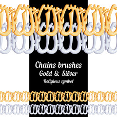 Set of chains metal brushes - gold and silver religious symbol