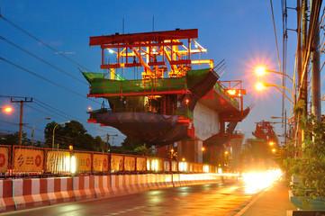 BANGKOK - JULY 24: Construction site of BTS Sky Train Railway lo