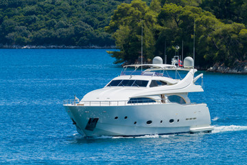 Luxury Yacht passing the Skorpios island in Lefkada