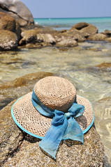 Hat on the rock. Phuket island, Thailand