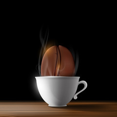 cup of coffee and coffee beans on a black background