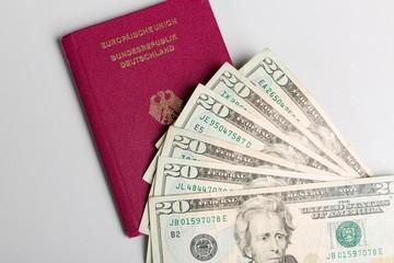 Reisepass und Dollarscheine