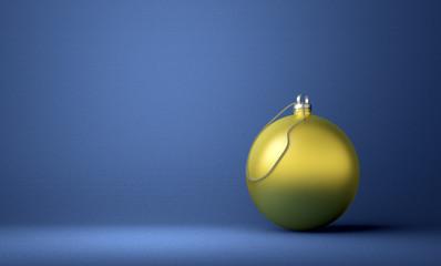 Golden Christmas ball on blue background