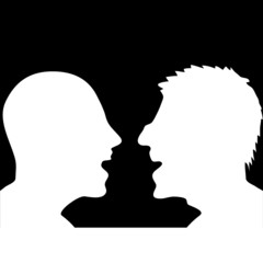 two people arguing silhouette
