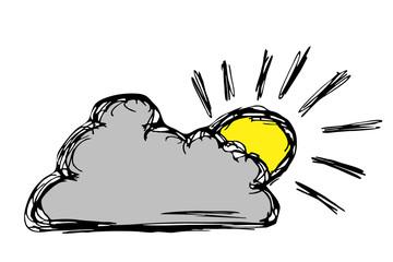 graue Wolke mit gelber Sonne