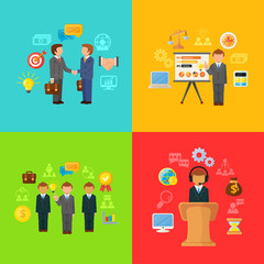 Vector Business Concept Icons Set of Partnership