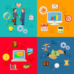 vector business concept flat icons set of partnership
