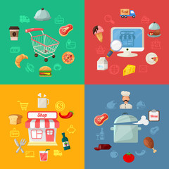 Vector Food Delivery Flat Icon Illustration