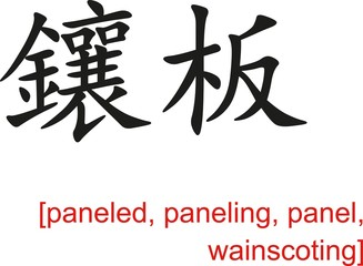 Chinese Sign for paneled, paneling, panel, wainscoting