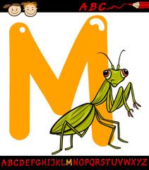 letter m for mantis cartoon illustration