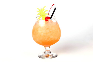 pineapple cocktail with a cherry