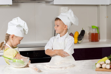 Two Young Cute Chefs Role Playing